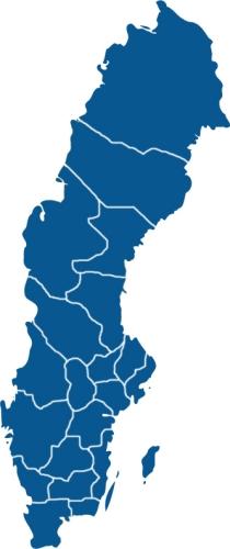 Urlaubsgebiete in Schweden nach län